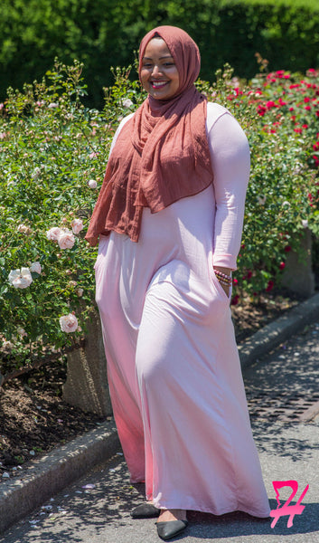 A-Line Long Sleeve Maxi Dress with Pockets - Light Pink