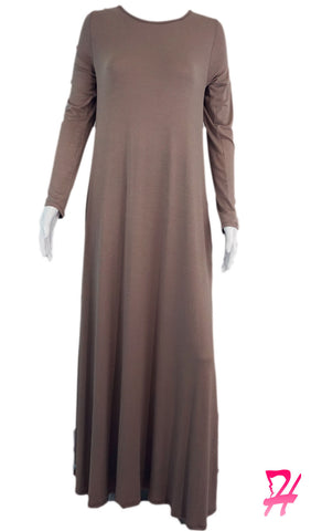 Long Sleeve A-Line Maxi Dress with Pockets - Mocha