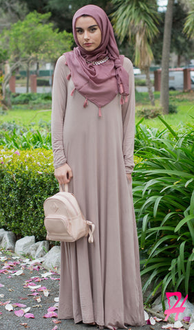 A-Line Long Sleeve Maxi Dress with Pockets - Mocha