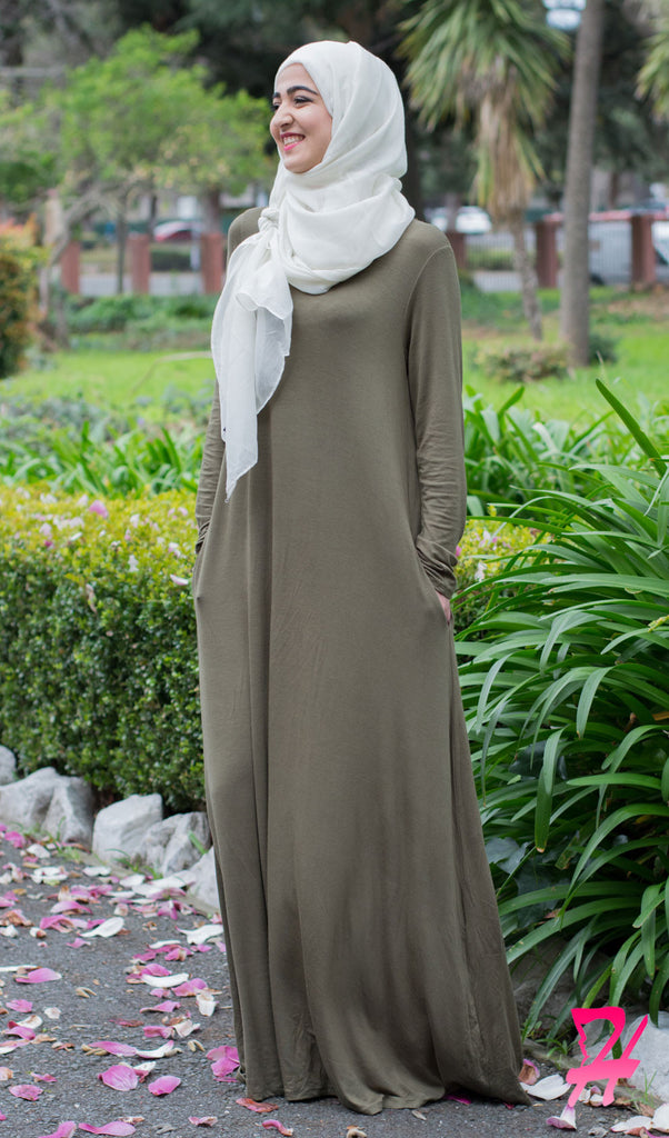 A-Line Long Sleeve Maxi Dress with Pockets - Olive