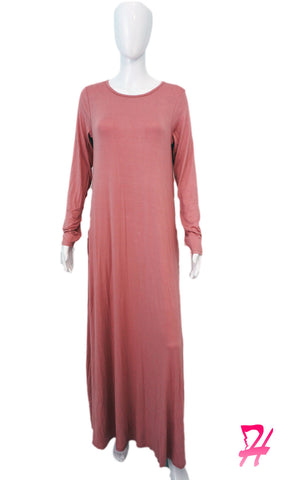 Long Sleeve A-Line Maxi Dress with Pockets - Rose