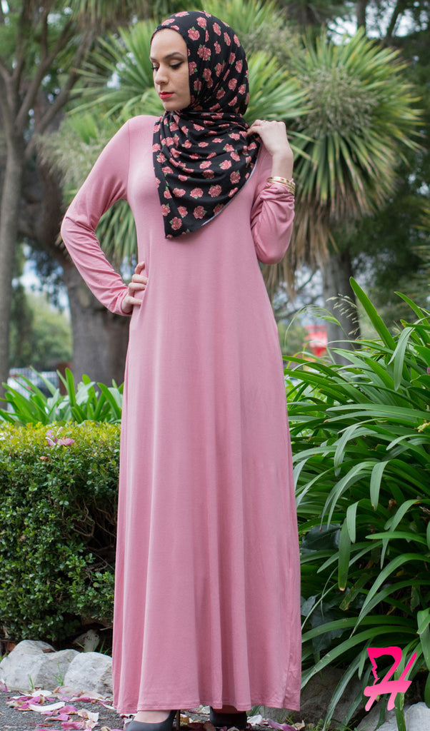 A-Line Long Sleeve Maxi Dress with Pockets - Rose