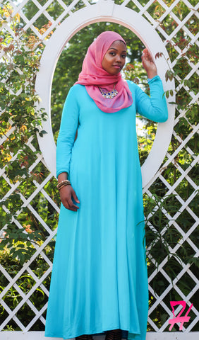 A-Line Long Sleeve Maxi Dress with Pockets - Turquoise