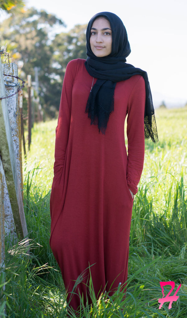 A-Line Long Sleeve Maxi Dress with Pockets - Burgundy