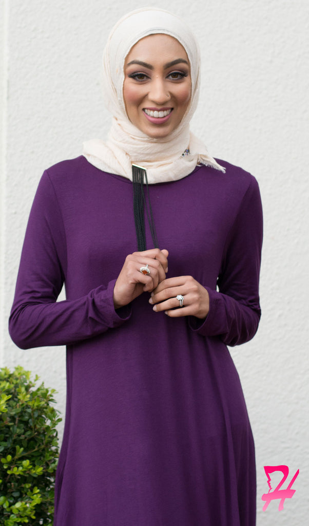 A-Line Long Sleeve Maxi Dress with Pockets - Eggplant