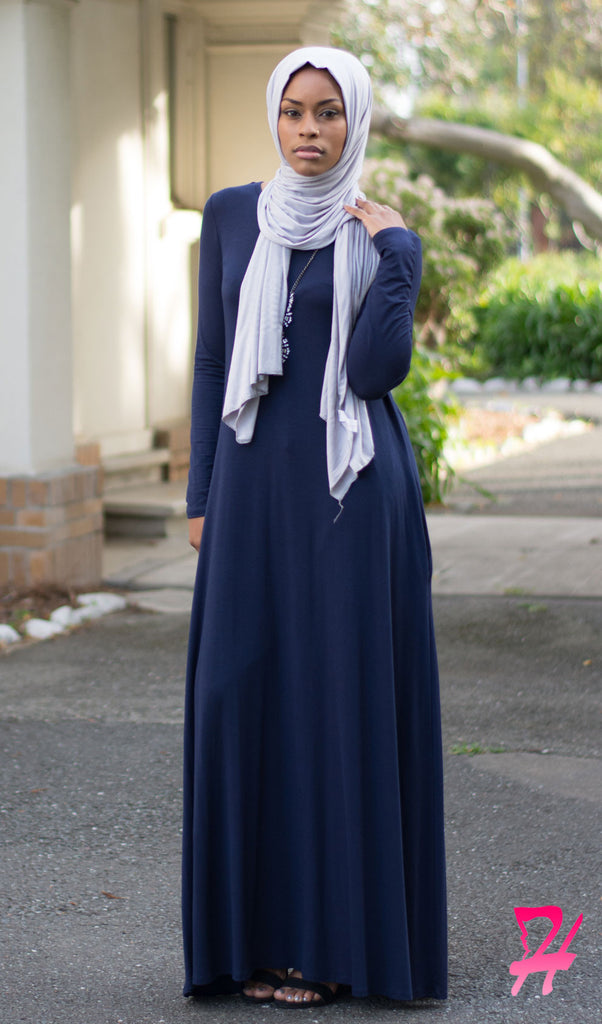 A,Line Long Sleeve Maxi Dress with Pockets , Navy