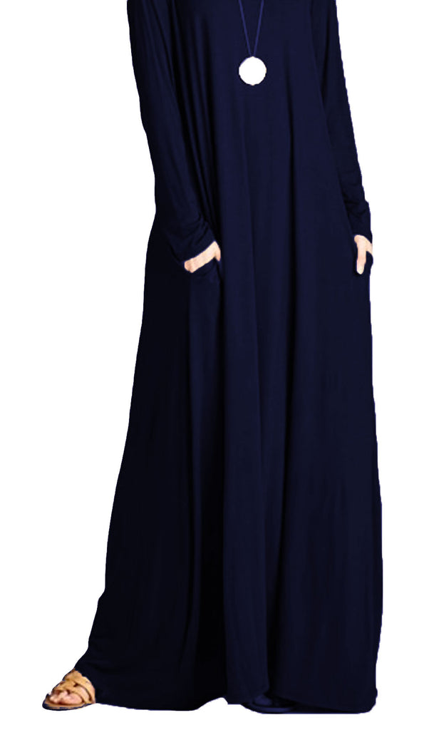 A-Line Long Sleeve Maxi Dress with Pockets - Navy