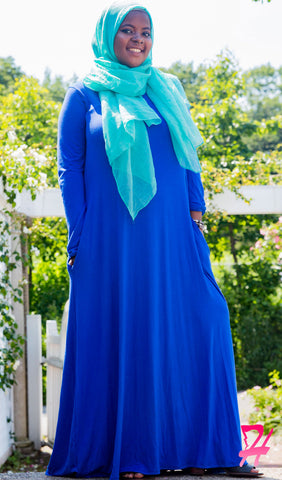 A-Line Long Sleeve Maxi Dress with Pockets - Royal Blue