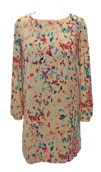 Abstract Splash Long Sleeve Shift Dress - Cream