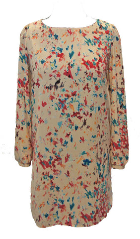 Abstract Splash Long Sleeve Shift Dress Cream Front