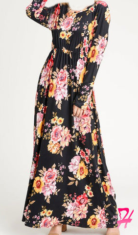 Garden Floral Long Sleeve Maxi Dress - Black