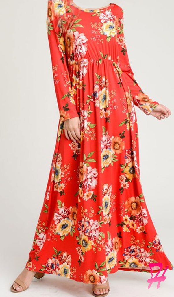 Garden Floral Long Sleeve Maxi Dress - Red