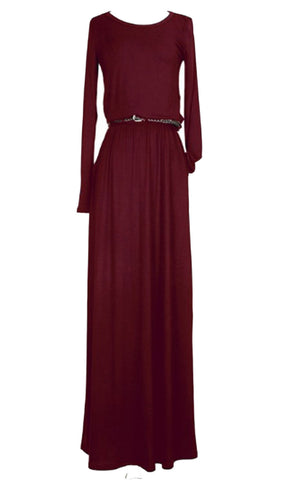 Belted Long Sleeve Maxi Dress with Pockets - Burgundy