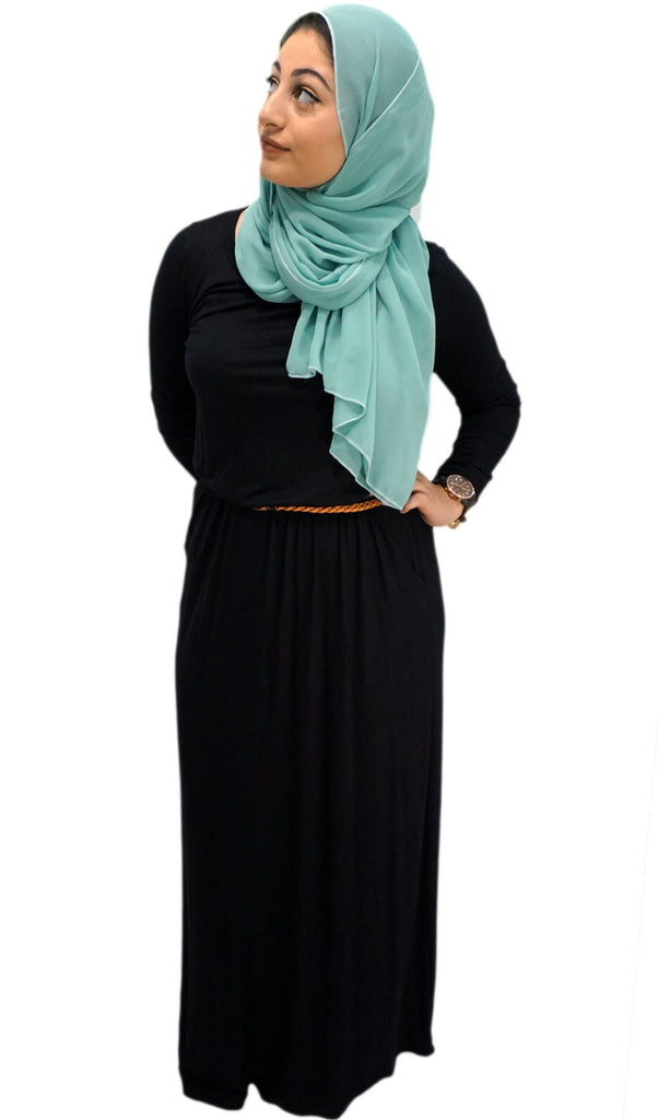 Belted Long Sleeve Maxi Dress With Pockets Black Hijab Store