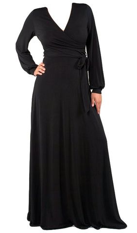 Wrap Long Sleeve Maxi Dress - Black