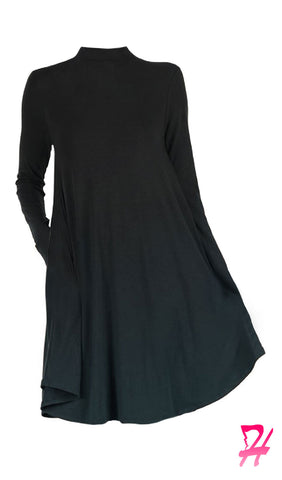 Mock Neck Long Sleeve Dress with Pockets - Black