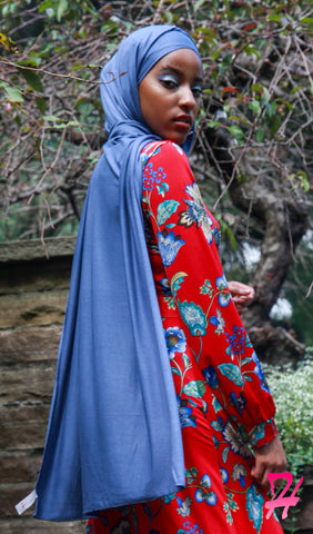 Cotton Jersey Hijab Scarf - Blue