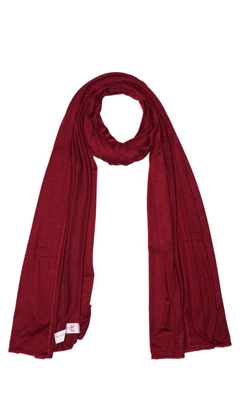 Cotton Jersey Hijab Scarf - Wine Red