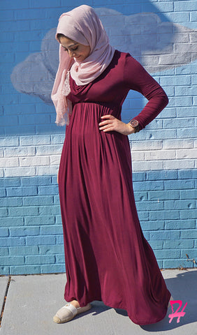 Long Sleeve Cowl Neck Maxi Dress - Burgundy