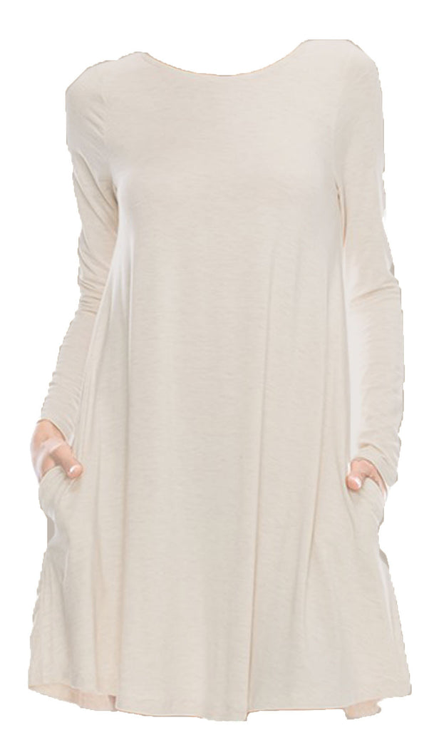 Swing Long Sleeve Dress with Pockets - Camel