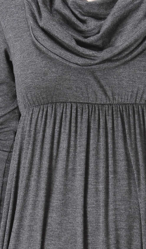 Charcoal Grey Long Sleeve Maxi Dress Detail