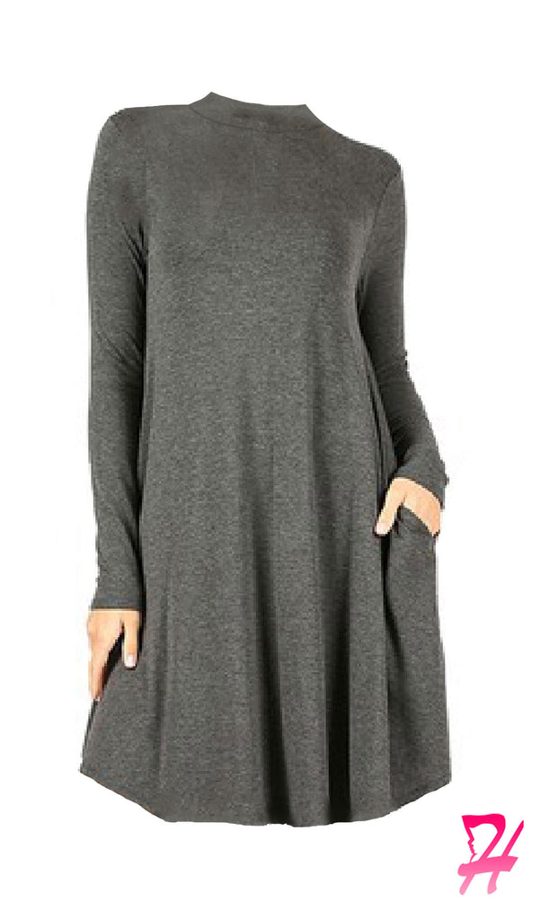 Mock Neck Long Sleeve Dress with Pockets - Charcoal