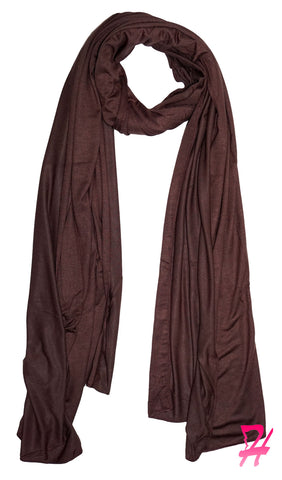 Cotton Jersey Hijab Scarf - Chocolate