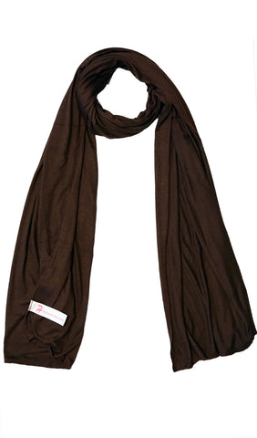 Cotton Jersey Hijab Scarf - Dark Brown