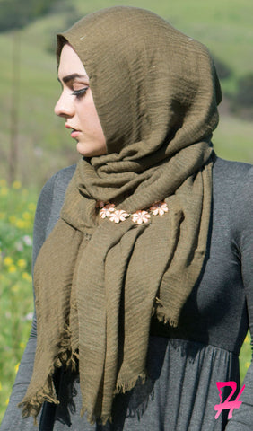 Cotton Cloud Hijab Scarf - Olive