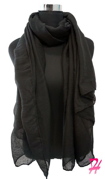 Cotton Crepe Maxi Hijab Scarf - Black