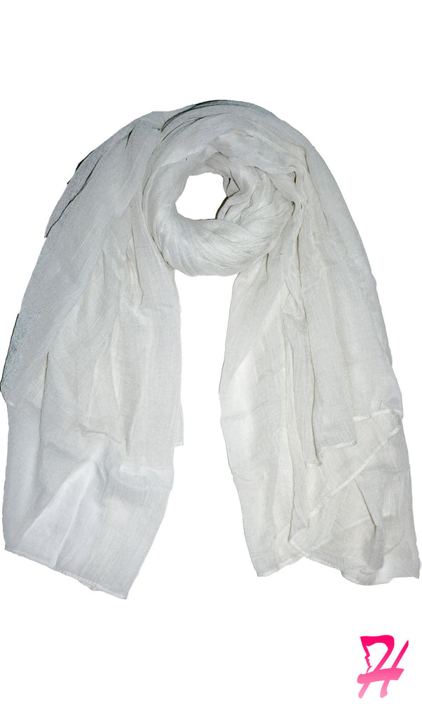 Cotton Crepe Maxi Hijab Scarf - White