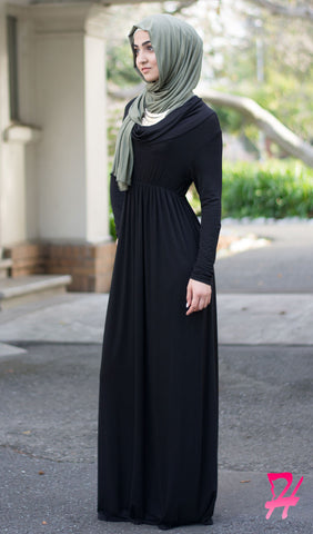 Cowl Neck Long Sleeve Maxi Dress - Black