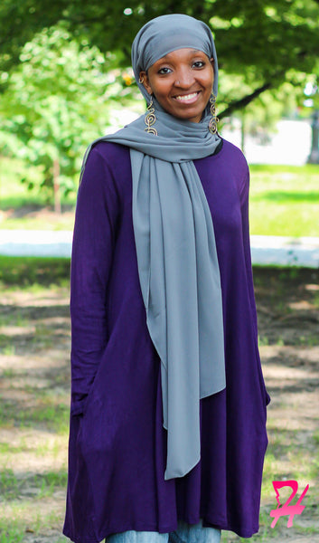 Swing Long Sleeve Dress with Pockets - Eggplant