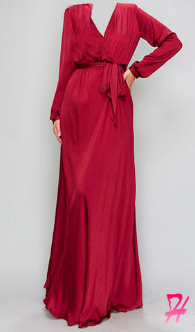 Elegance Long Sleeve Maxi Dress - Cherry