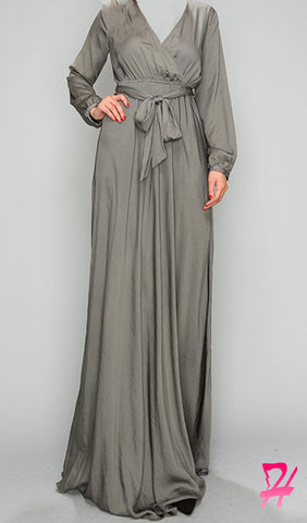 Elegance Long Sleeve Maxi Dress - Olive