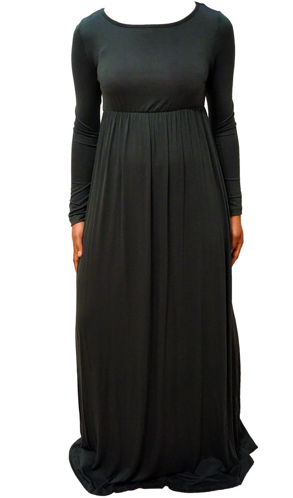 Long Sleeve Maxi Dress -  Hunter Green