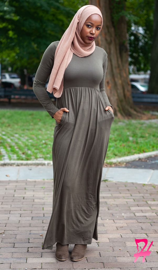 High Waist Long Sleeve Maxi Dress with Pockets - Olive