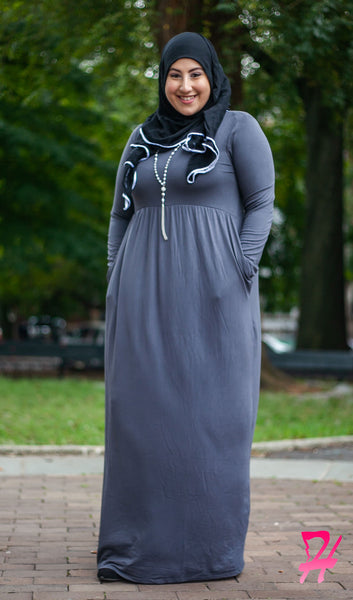 High Waist Long Sleeve Maxi Dress with Pockets - Ash Gray