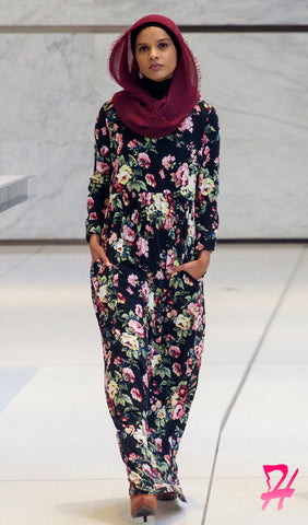 High Waist Long Sleeve Maxi Dress with Pockets - Black Floral