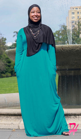 High Waist Long Sleeve Maxi Dress with Pockets - Jade Green
