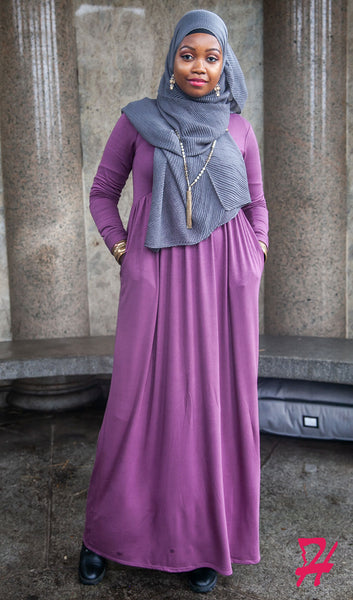 High Waist Long Sleeve Maxi Dress with Pockets - Eggplant