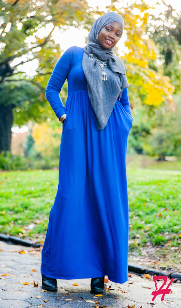 High Waist Long Sleeve Maxi Dress with Pockets - Royal Blue