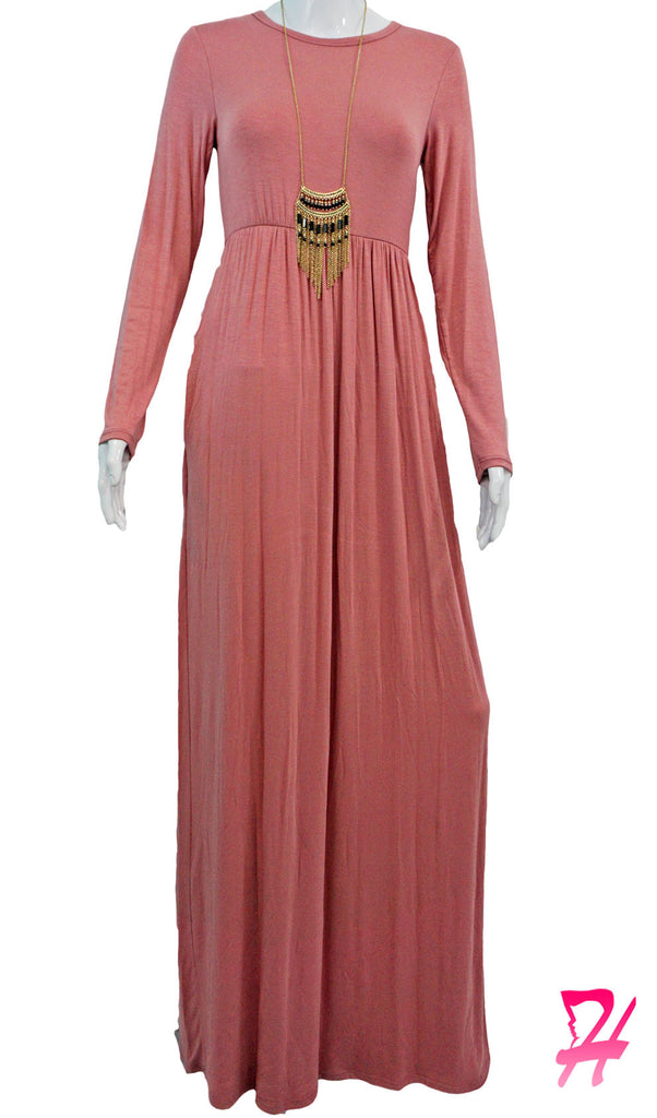 High Waist Long Sleeve Maxi Dress with Pockets - Rose