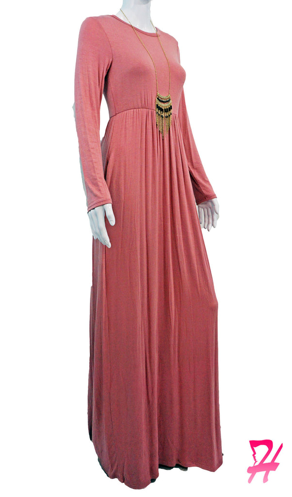 High Waist Long Sleeve Maxi Dress with Pockets - Mauve