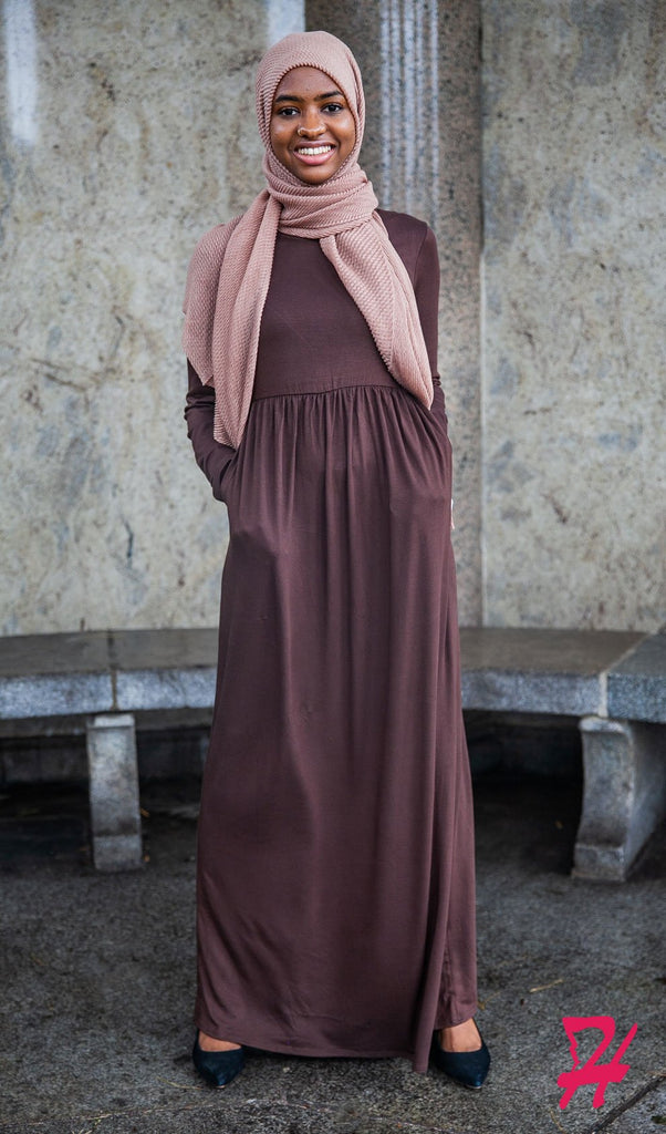 High Waist Long Sleeve Maxi Dress with Pockets - Cocoa Brown