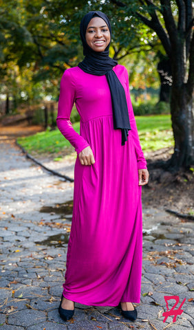 High Waist Long Sleeve Maxi Dress with Pockets - Magenta