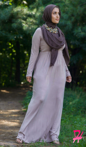 High Waist Long Sleeve Maxi Dress with Pockets - Mocha