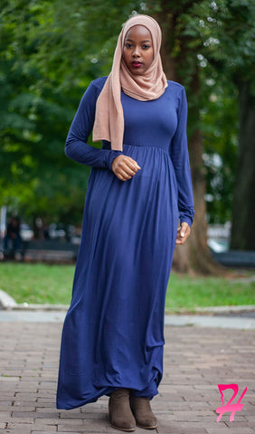 High Waist Long Sleeve Maxi Dress with Pockets - Navy