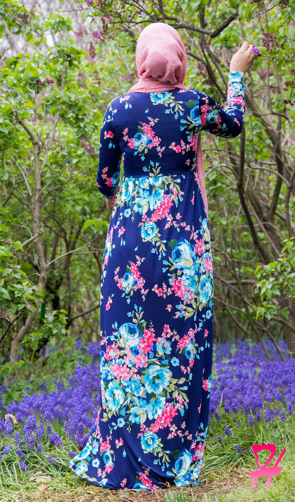 High Waist Long Sleeve Maxi Dress with Pockets - Navy Floral back