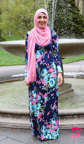 High Waist Long Sleeve Maxi Dress with Pockets - Navy Floral